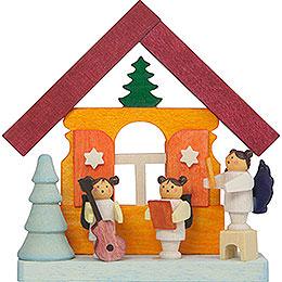 Christbaumschmuck Buntes Haus mit Musikantenengeln - 7,5 cm