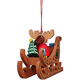 Christbaumschmuck Elch Weihnachtsmann im Schlitten - 6,6 cm