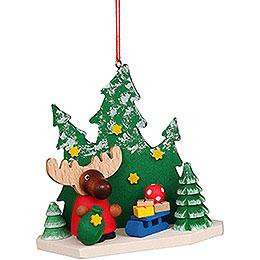Christbaumschmuck Elch Weihnachtsmann im Wald - 8,6 cm