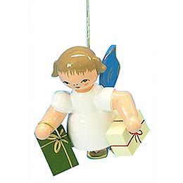 Christbaumschmuck Engel mit 2 Geschenken - Blaue Flügel - schwebend - 6 cm