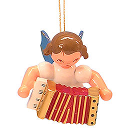 Christbaumschmuck Engel mit Akkordeon - Blaue Flügel - schwebend - 5,5 cm