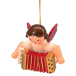 Christbaumschmuck Engel mit Akkordeon - Rote Flügel - schwebend - 5,5 cm