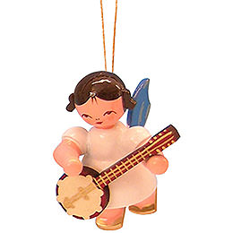 Christbaumschmuck Engel mit Banjo - Blaue Flügel - schwebend - 5,5 cm