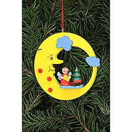 Christbaumschmuck Engel mit Baum im Mond - 8,3x7,9 cm