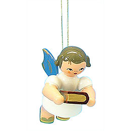 Christbaumschmuck Engel mit Bibel - Blaue Flügel - schwebend - 6 cm