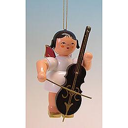 Christbaumschmuck Engel mit Cello - Rote Flügel - 9,5 cm