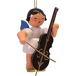 Christbaumschmuck Engel mit Cello - blaue Flügel - 9,5 cm
