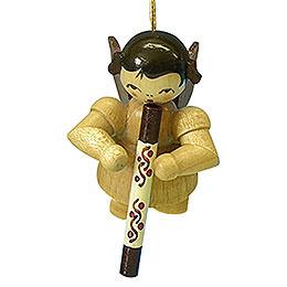 Christbaumschmuck Engel mit Didgeridoo - natur - schwebend - 5,5 cm