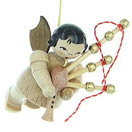 Christbaumschmuck Engel mit Dudelsack - natur - schwebend - 5,5 cm