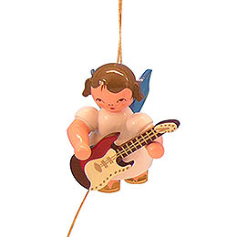 Christbaumschmuck Engel mit E-Gitarre - Blaue Flügel - schwebend - 5,5 cm