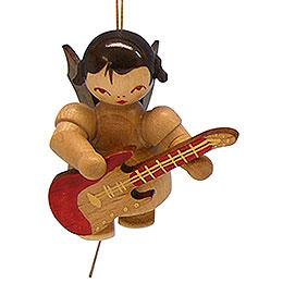 Christbaumschmuck Engel mit E-Gitarre - natur - schwebend - 5,5 cm
