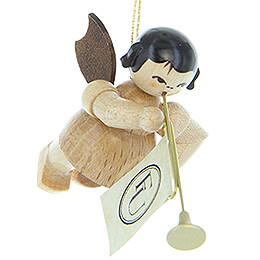 Christbaumschmuck Engel mit Fanfare - natur - schwebend - 5,5 cm