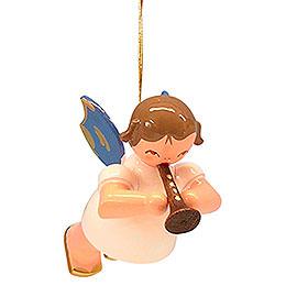 Christbaumschmuck Engel mit Flöte - Blaue Flügel - schwebend - 5,5 cm