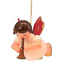 Christbaumschmuck Engel mit Flöte - Rote Flügel - schwebend - 5,5 cm