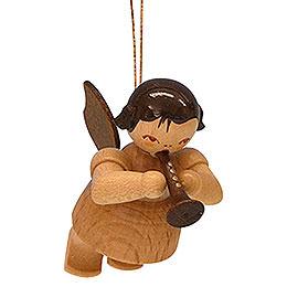 Christbaumschmuck Engel mit Flöte - natur - schwebend - 5,5 cm