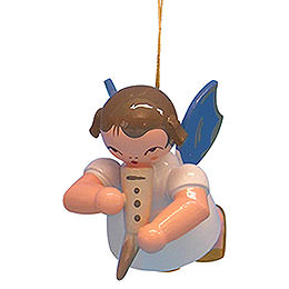Christbaumschmuck Engel mit Gemshorn - Blaue Flügel - schwebend - 5,5 cm