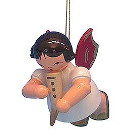Christbaumschmuck Engel mit Gemshorn - Rote Flügel - schwebend - 5,5 cm