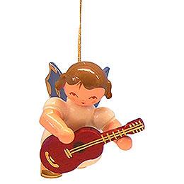 Christbaumschmuck Engel mit Gitarre - Blaue Flügel - schwebend - 5,5 cm