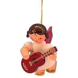 Christbaumschmuck Engel mit Gitarre - Rote Flügel - schwebend - 5,5 cm