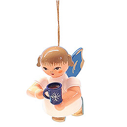 Christbaumschmuck Engel mit Glühweintasse - Blaue Flügel - schwebend - 5,5 cm