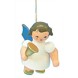 Christbaumschmuck Engel mit Glocke - Blaue Flügel - schwebend - 6 cm