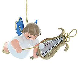 Christbaumschmuck Engel mit Glockenspiel - Blaue Flügel - schwebend - 5,5 cm