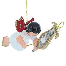 Christbaumschmuck Engel mit Glockenspiel - Rote Flügel - schwebend - 5,5 cm