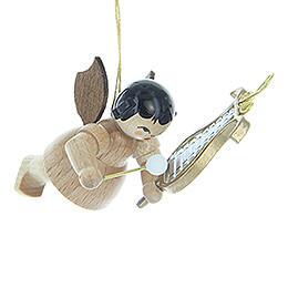 Christbaumschmuck Engel mit Glockenspiel - natur - schwebend - 5,5 cm