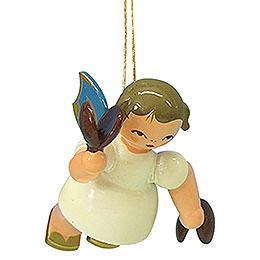 Christbaumschmuck Engel mit Kastagnetten - Blaue Flügel - schwebend - 5,5 cm