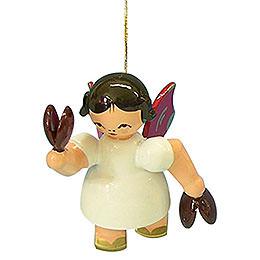 Christbaumschmuck Engel mit Kastagnetten - Rote Flügel - schwebend - 5,5 cm