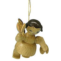 Christbaumschmuck Engel mit Kastagnetten - natur - schwebend - 5,5 cm