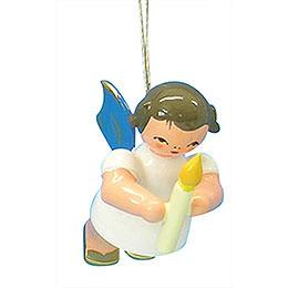Christbaumschmuck Engel mit Kerze - Blaue Flügel - schwebend - 6 cm