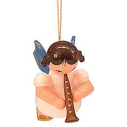 Christbaumschmuck Engel mit Klarinette - Blaue Flügel - schwebend - 5,5 cm