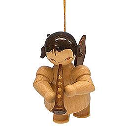 Christbaumschmuck Engel mit Klarinette - natur - schwebend - 5,5 cm