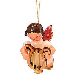 Christbaumschmuck Engel mit Leier - Rote Flügel - schwebend - 5,5 cm