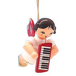 Christbaumschmuck Engel mit Melodica - Rote Flügel - schwebend - 5,5 cm