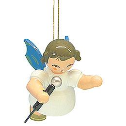 Christbaumschmuck Engel mit Mikrofon - Blaue Flügel - schwebend - 5,5 cm