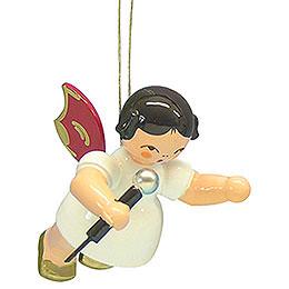 Christbaumschmuck Engel mit Mikrofon - Rote Flügel - schwebend - 5,5 cm