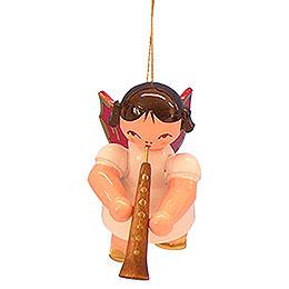 Christbaumschmuck Engel mit Oboe - Rote Flügel - schwebend - 5,5 cm