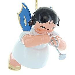 Christbaumschmuck Engel mit Piccolotrompete - Blaue Flügel - schwebend - 5,5 cm