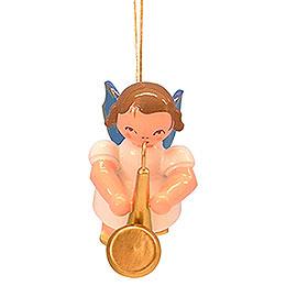 Christbaumschmuck Engel mit Saxophon - Blaue Flügel - schwebend - 5,5 cm