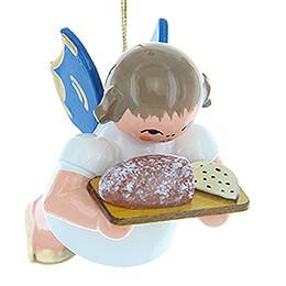 Christbaumschmuck Engel mit Stollenbrett - Blaue Flügel - schwebend - 5,5 cm