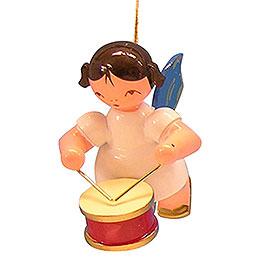 Christbaumschmuck Engel mit Trommel - Blaue Flügel - schwebend - 5,5 cm