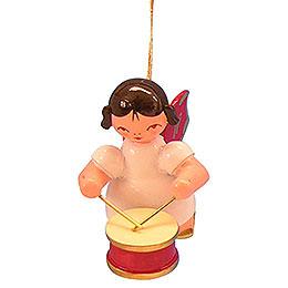 Christbaumschmuck Engel mit Trommel - Rote Flügel - schwebend - 5,5 cm