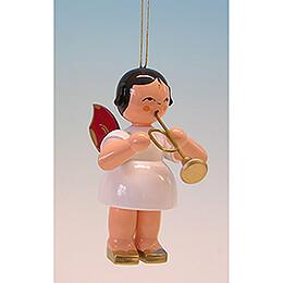 Christbaumschmuck Engel mit Trompete - Rote Flügel - 9,5 cm