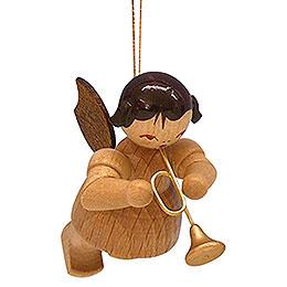 Christbaumschmuck Engel mit Trompete - natur - schwebend - 5,5 cm
