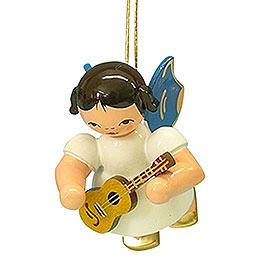 Christbaumschmuck Engel mit Ukulele - Blaue Flügel - schwebend - 5,5 cm