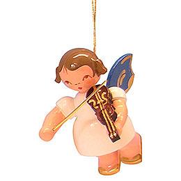 Christbaumschmuck Engel mit Violine - Blaue Flügel - schwebend - 5,5 cm