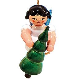 Christbaumschmuck Engel mit Weihnachtsbaum - Blaue Flügel - schwebend - 5,5 cm