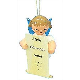 Christbaumschmuck Engel mit Wunschzettel - Blaue Flügel - schwebend - 6 cm